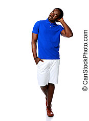 Studio shot of a pensive african man over white background
