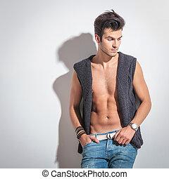 Studio shot of a sexy young fashion man