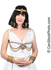 Studio shot of a woman dressed as Cleopatra