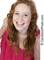 Studio Shot of an Attractive Red Headed Teenager