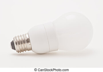 Studio shot of an environmentally friendly light bulb on...