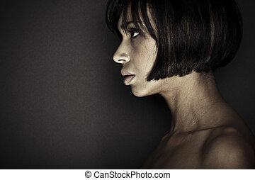 Studio Shot of Beautiful Young Brunette Girl