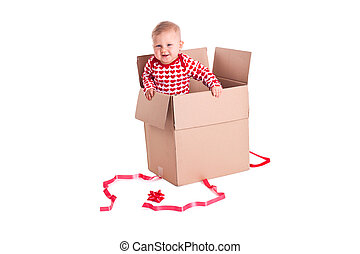 child in gift box