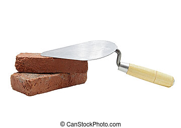 construction lute trowel with red brick