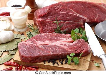 Fresh Raw Beef - Studio Shot Of Cooking Fresh Raw Beef