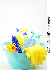 studio shot of housekeeping equipments on white background