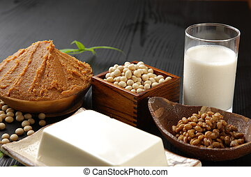 Japanese soybean processed food - studio shot of Japanese ...