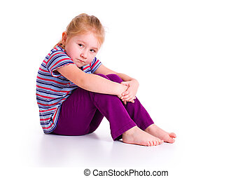 little girl with sad expression