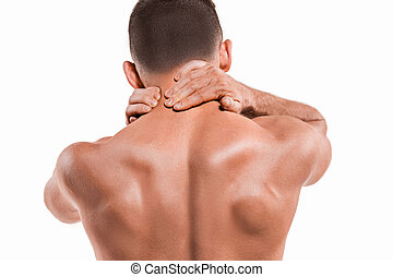 Studio shot of man with pain in neck