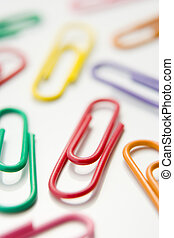 Studio Shot Of Multi Colored Paperclips