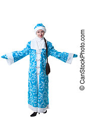 Studio shot of pretty girl dressed as Snow Maiden
