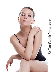 Studio shot of sexy young woman with healthy skin