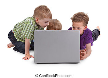 three kids with laptop