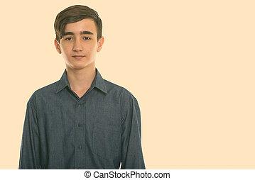 Studio shot of young handsome Persian teenage boy