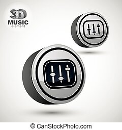 Studio sound equipment icon, mixing console 3d vector music them