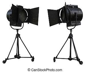 Studio spotlight lighting equipment isolated on white ...