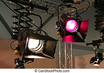 Studio spotlights, hanging from the celing