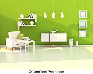 studio, stanza moderna, stanza