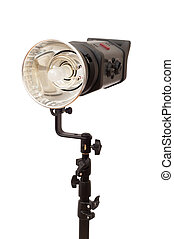 Studio stobe with reflector isolated on white
