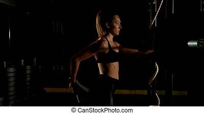 studio, stosowność, wykonując, atleta, samica, 4k