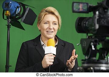 studio télévision, journaliste, femme, rapport, présentation