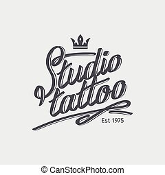 Studio tattoo retro logo with crown