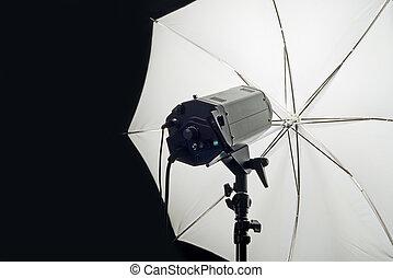 studio, testa, lampo, ombrello, fotografia