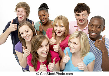 studio, tonårig, vänner, grupp