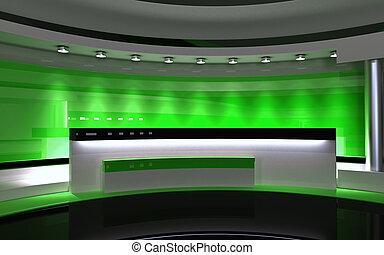 studio., tv, studio., 緑, studio., 緑の背部, drop., 3d, レンダリング