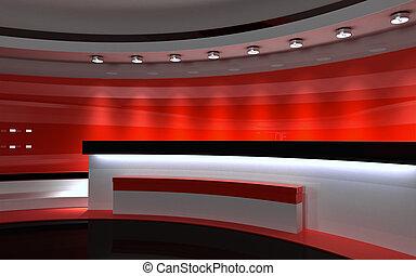 studio., tv, studio., 赤, studio., 赤, 背中, drop., 3d, レンダリング