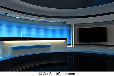 studio., tv, studio., 青, studio., 青, 背中, drop., 3d, レンダリング
