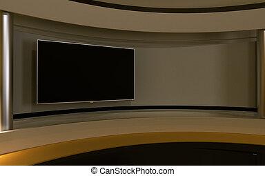 studio., tv, studio., 黄色, studio., 黄色, 背中, drop., 3d, レンダリング