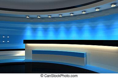 Studio. Tv studio. Blue Studio. Blue back drop. 3d rendering