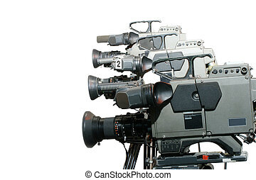 Studio Video Cameras in a line