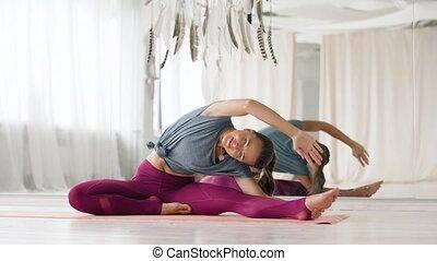 studio, vrouw, yoga, oefening