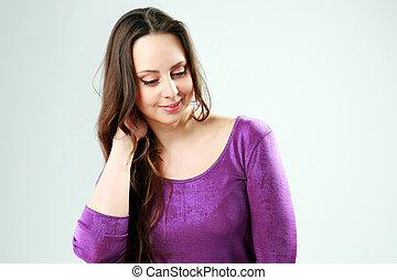 studio vuurde, van, een, glimlachende vrouw, op, grijze achtergrond