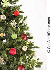 studio vuurde, van, verfraaide, kerstboom