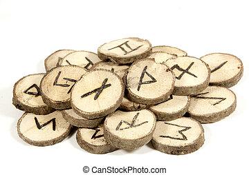 studio vuurde, verzameling, van, oud, houten, runes