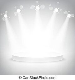 Studio with  podium and spotlights vector grey show light
