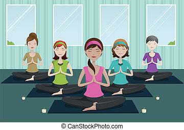 studio, yoga, persone