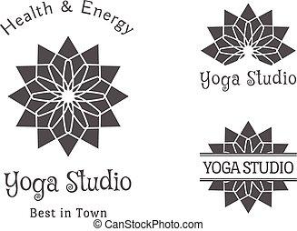 studio yoga, vecteur, logo, gabarit, ensemble