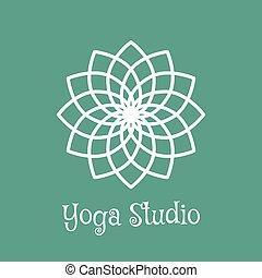 studio yoga, vecteur, logo, gabarit