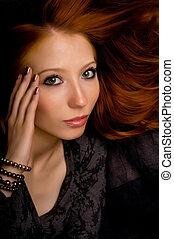 studioportret, van, een, mooi, jong meisje, met, rood haar