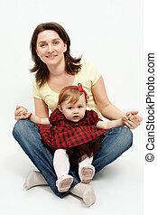 studioportret, van, moeder en baby, dochter