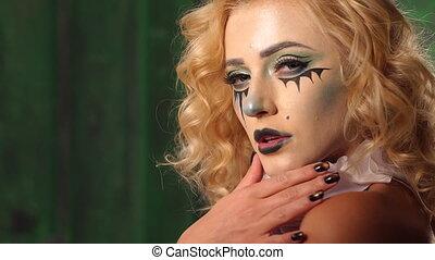 studios., horreur, maquillage, halloween, film, girl, acteurs