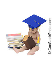 studious baby - a cute baby with graduation cap surrounded...