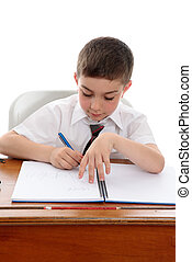 Studious boy doing school work - Conscientious young boy...
