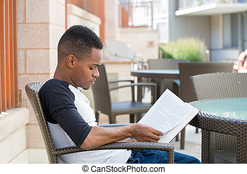 Studious - Closeup portrait, smart young man with intense...