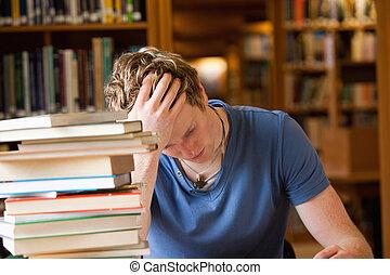 Studious man reading