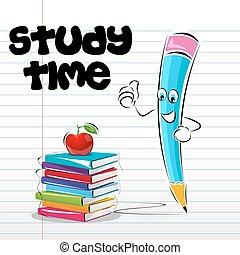 studium, card, tid